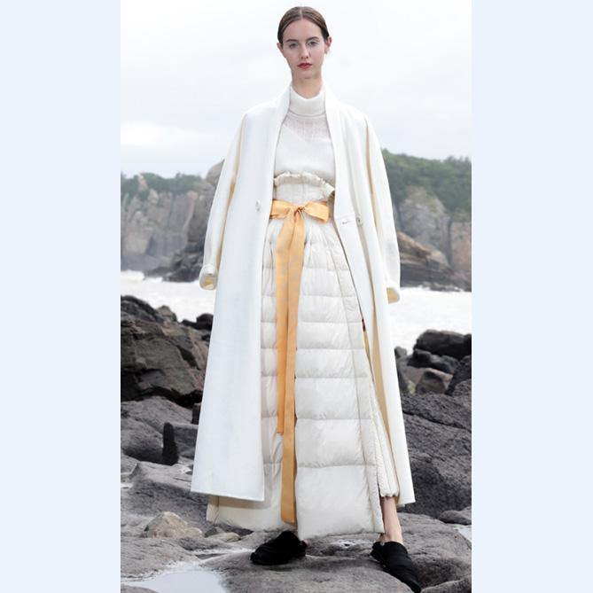 Luxury white duck down skirt oversize high waist down skirts thick maxi a line skirt