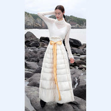 Load image into Gallery viewer, Luxury white duck down skirt oversize high waist down skirts thick maxi a line skirt