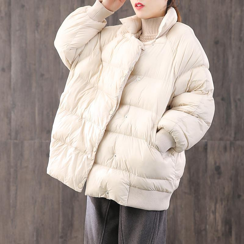 Luxury white warm goose Down coat plus size clothing dark buckle down jacket stand collar top quality Jackets