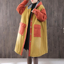 Load image into Gallery viewer, Luxury yellow Parkas oversized coats hooded patchwork coat