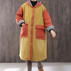 Luxury yellow Parkas oversized coats hooded patchwork coat