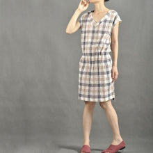 Load image into Gallery viewer, Mid length plaid short sundress casual summer dresses