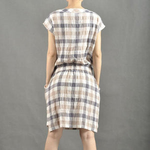 Mid length plaid short sundress casual summer dresses