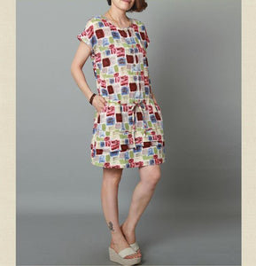 Mixed color cotton dress short sleeve linen sundress-Will be available soon