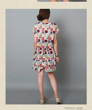 Load image into Gallery viewer, Mixed color cotton dress short sleeve linen sundress-Will be available soon