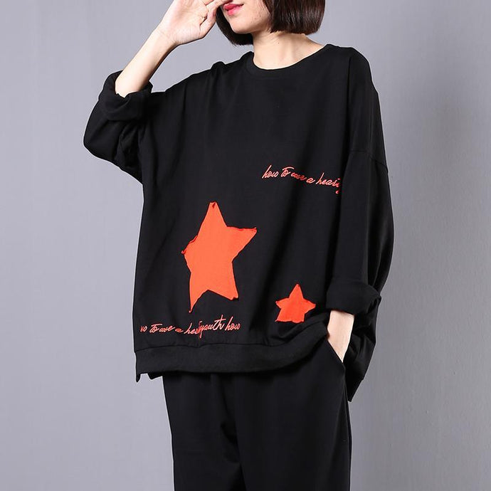 Modern Appliques cotton shirts Sewing black tops fall