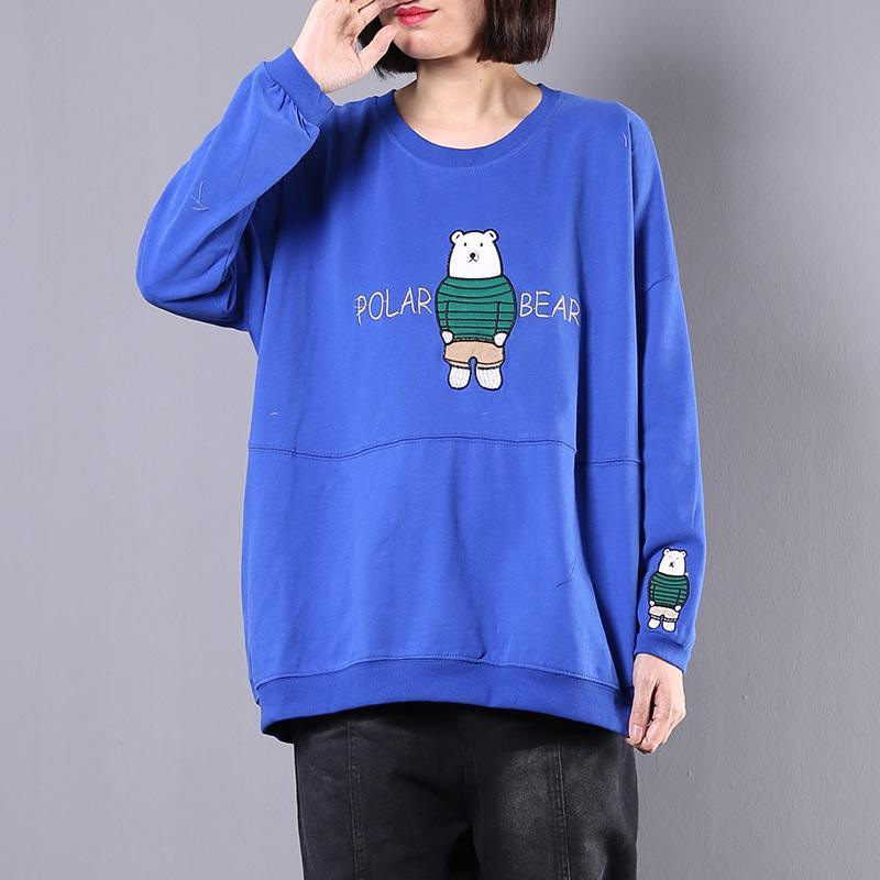 Modern Cartoon print cotton clothes For Women Cotton blue long sleeve top fall