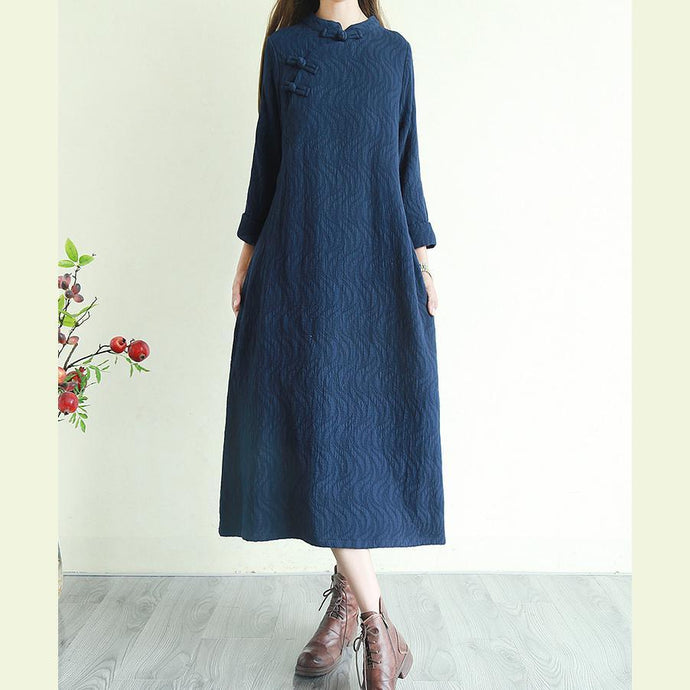 Modern Chinese Button linen jacquard clothes For Women Shirts navy Dresses