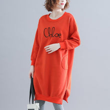 Load image into Gallery viewer, Modern Cotton clothes Women Pakistani Work Outfits orange Love Dresses O neck
