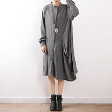 Load image into Gallery viewer, Modern Cotton tunic pattern 2019 Batwing Sleeve asymmetric Neckline gray cotton Dresses