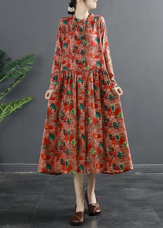 Modern Drawstring Spring Tunic Dress Wardrobes Red Print Dress