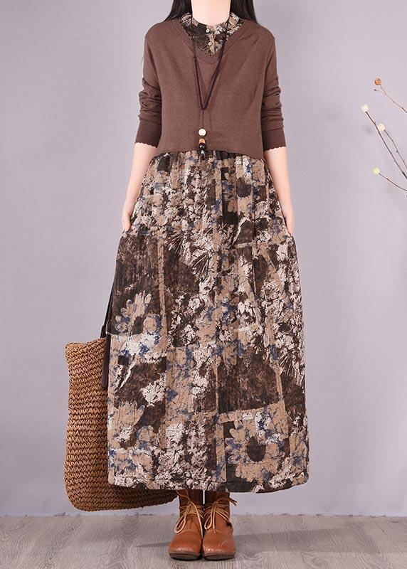Modern Patchwork Spring Dresses Design Chocolate Print Dresses