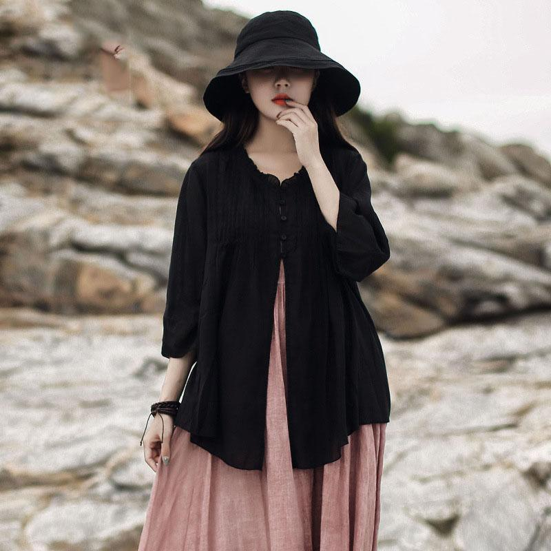 Modern Ruffled cardigan cotton linen women black Art shirts summer