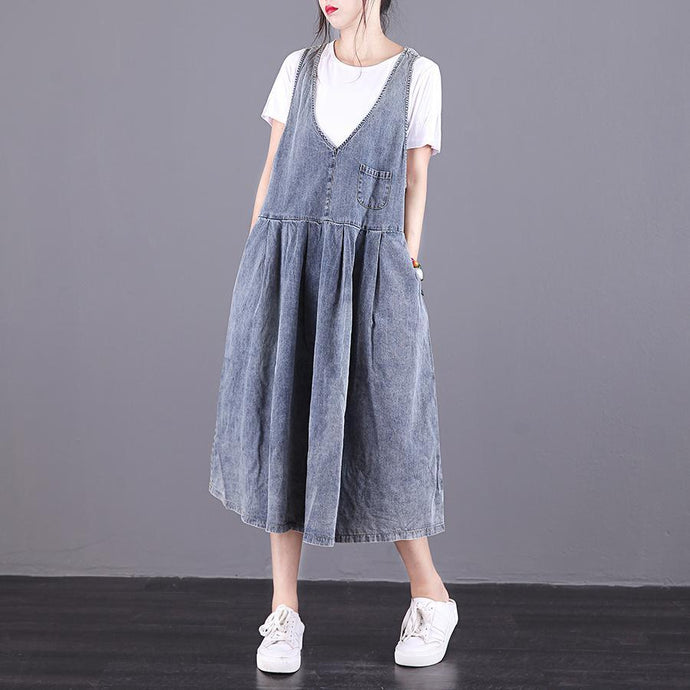 Modern Spaghetti Strap wrinkled cotton denim blue A Line Dresses summer