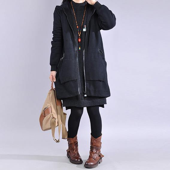 Modern black Fine Coats Women Wardrobes hooded zippered outwear