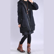 Load image into Gallery viewer, Modern black Fine Coats Women Wardrobes hooded zippered outwear