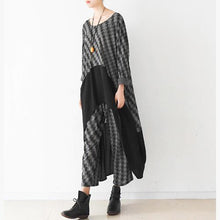 Load image into Gallery viewer, Modern black Plaid cotton blended kaftans Fine Shirts wide leg pants two pieces
