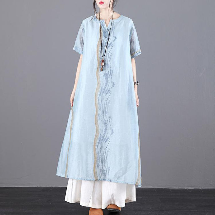 Modern blue print linen Robes o neck pockets summer Dress