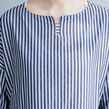 Load image into Gallery viewer, Modern blue striped cotton clothes Women Stitches Neckline o neck Three Quarter sleeve Kaftan spring Dress
