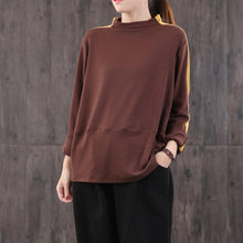 Load image into Gallery viewer, Modern brown cotton linen tops women high neck patchwork cotton blouse