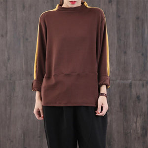 Modern brown cotton linen tops women high neck patchwork cotton blouse