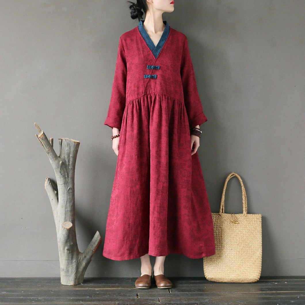Modern burgundy linen clothes For Women Metropolitan Museum Outfits loose asymmetric v neck patchwork Dresses