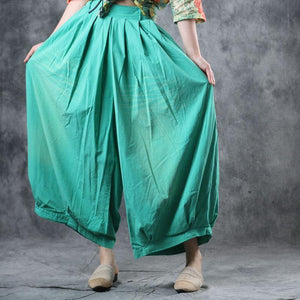 Modern clothes Fitted Summer Cotton Elastic Waist Ankle-Length Wide Leg Pants