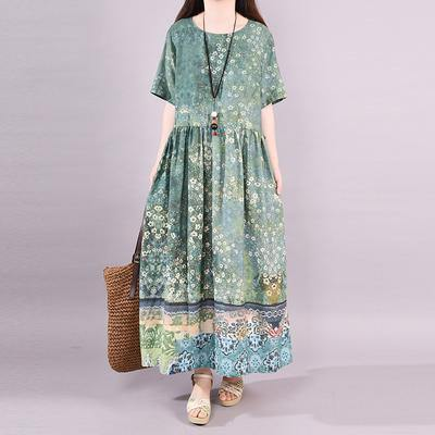 Modern cotton linen clothes For Women Organic Fashion Short Sleeve Printed Maxi Dress