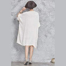 Laden Sie das Bild in den Galerie-Viewer, Modern half sleeve linen cotton clothes linen white Dresses o neck summer