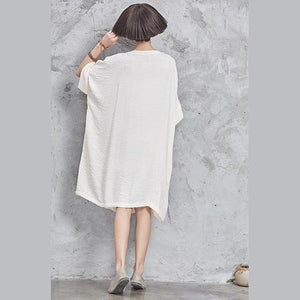 Modern half sleeve linen cotton clothes linen white Dresses o neck summer