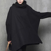 Load image into Gallery viewer, Modern high neck Cotton side open wool outfit Shape black warm Dress