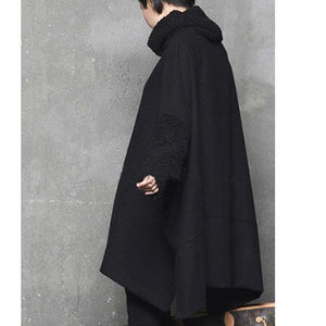 Modern high neck Cotton side open wool outfit Shape black warm Dress