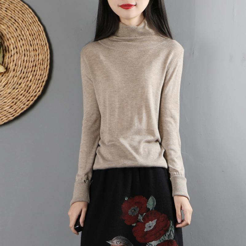 Modern high neck cotton fall Blouse Sleeve khaki shirt
