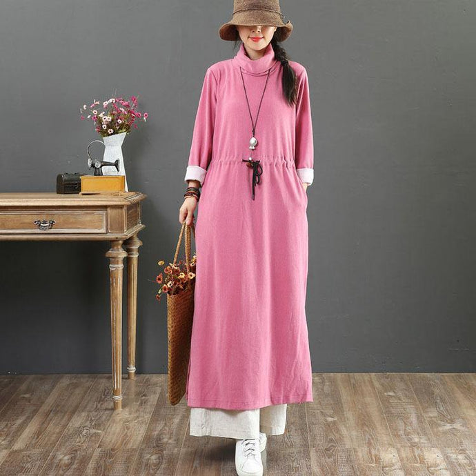 Modern high neck elastic waist cotton clothes Outfits rose Maxi Dress fall