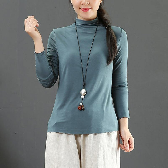 Modern high neck slim tunic pattern Work blue top fall