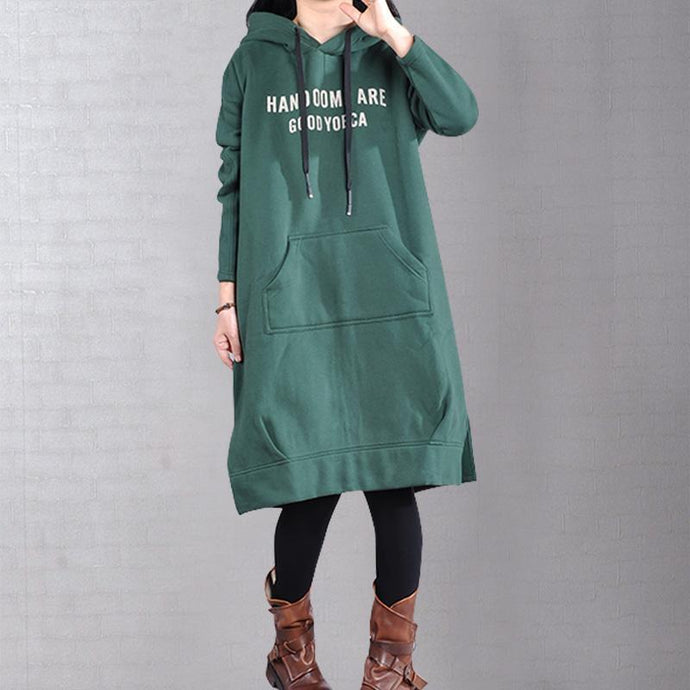 Modern hooded patchwork Cotton dress linen green Dress