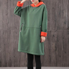 Load image into Gallery viewer, Modern hooded zippered Cotton quilting clothes Shirts green Dress