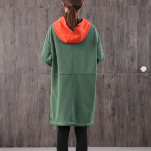 Modern hooded zippered Cotton quilting clothes Shirts green Dress