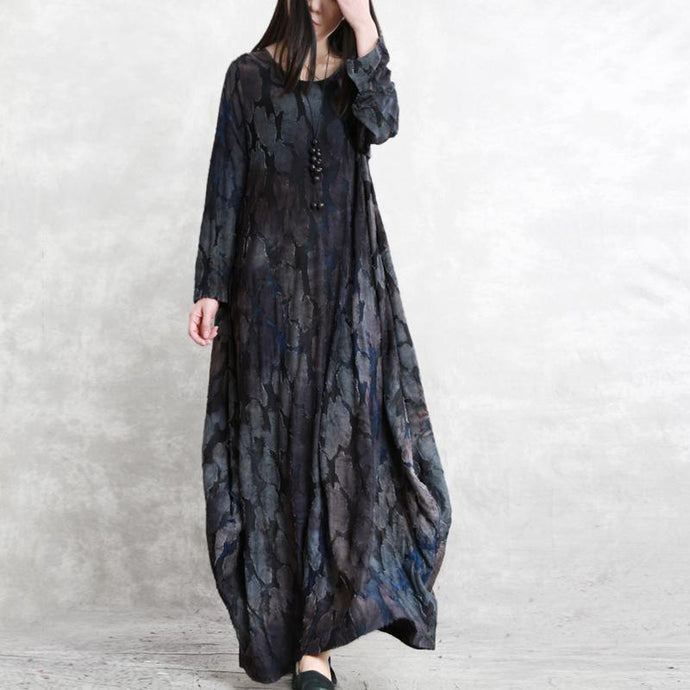 Modern jacquard cotton Long Shirts 18th Century Cotton gray blue cotton robes Dresses spring