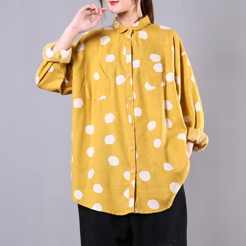Modern lapel baggy cotton tops Tunic Tops yellow dotted shirt