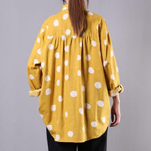 Load image into Gallery viewer, Modern lapel baggy cotton tops Tunic Tops yellow dotted shirt