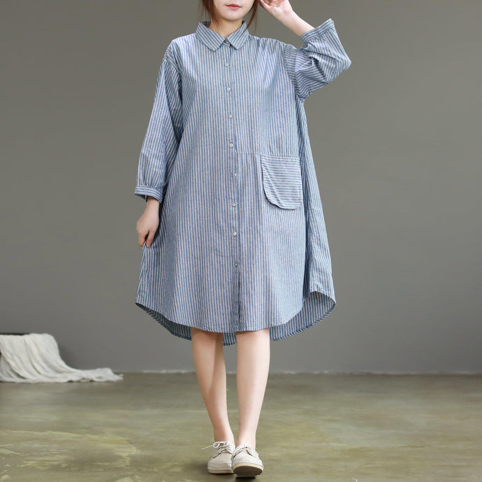 Modern lapel collar linen dresses Metropolitan Museum design blue cotton Dress striped