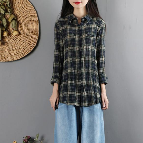 Modern lapel collar linen long sleeve Blouse Christmas Gifts green striped shirt