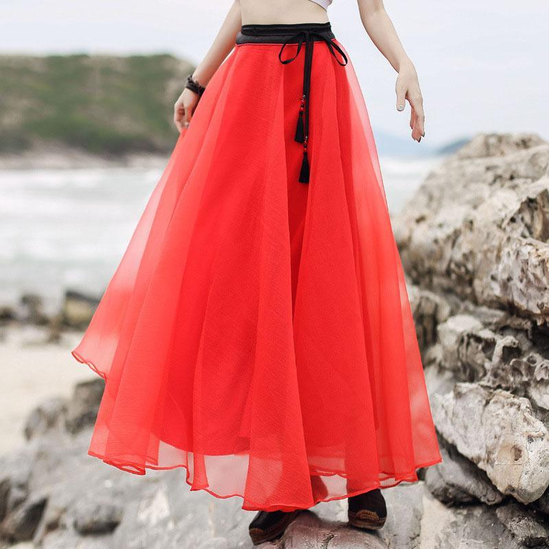 Modern large hem tassel chiffon clothes For Women Omychic Wardrobes red Maxi skirts Summer