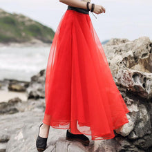 Load image into Gallery viewer, Modern large hem tassel chiffon clothes For Women Omychic Wardrobes red Maxi skirts Summer