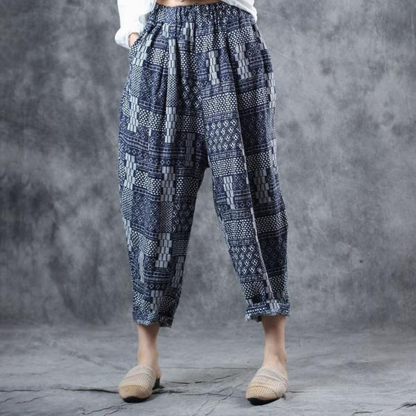 Modern linen clothes Fitted Ethnic Style Printed Summer Harem Pants