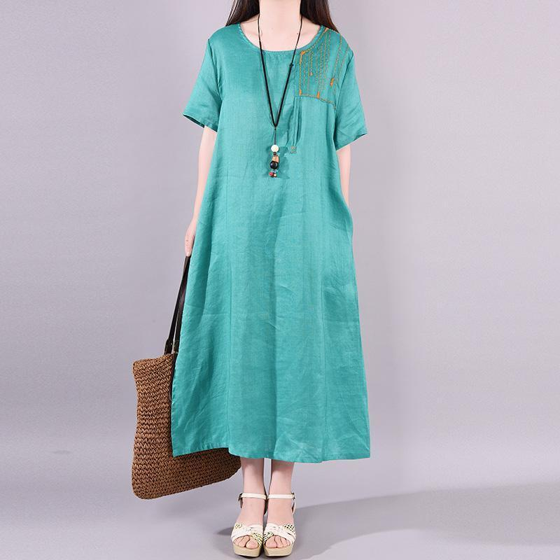 Modern linen dress Vintage Ramie Solid Embroidery Pockets A-Line Dress
