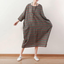 Load image into Gallery viewer, Modern linen dresses plus size o neck baggy dresses Outfits green striped Vestidos De Lino Dresses