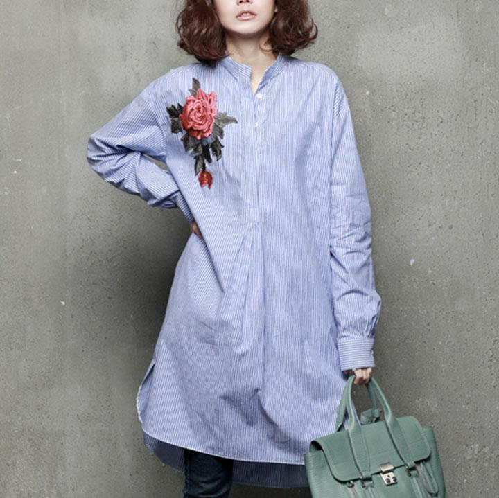 Modern low high design cotton embroidery tunics for women pattern blue striped shirt
