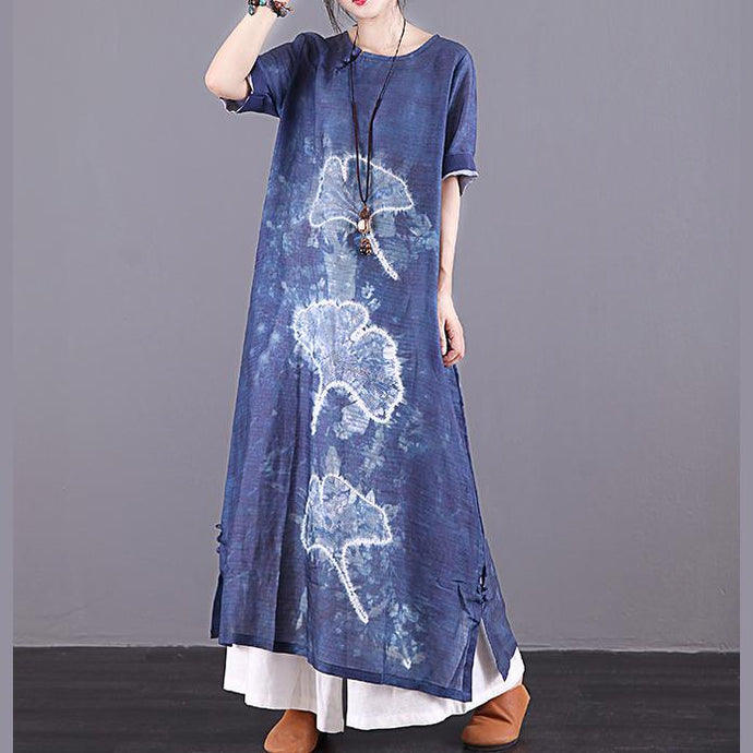Modern navy print linen dresses Button Down pockets Plus Size summer Dress